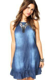 Vestido Jeans Sommer Babados Azul