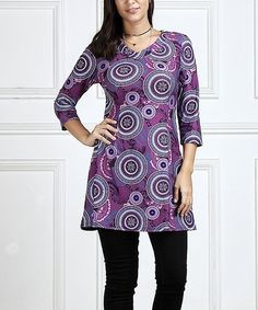 Purple Abstract V-Neck Tunic #zulily #zulilyfinds