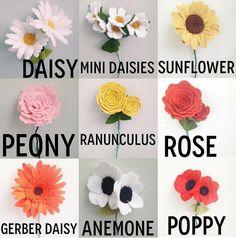 Six felt wildflowers by TheFeltFlowerShop on Etsy
