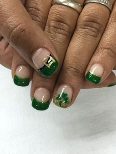 St. Patty's day nails!! Green, gold, clover and buckle nails, so fun!! All done with non-toxic and odorless gel.