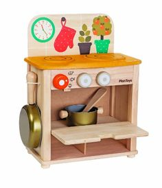 Plan Toys Kitchen Set PlanToys http://www.amazon.com/dp/B00I3VWMOU/ref=cm_sw_r_pi_dp_XGR0vb06VDHJ1. I think I could turn a night stand I have into something similar