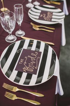 striped plates! photo by @Emily @ Anna Delores Photography http://ruffledblog.com/california-art-gallery-wedding #plates #striped #weddingideas