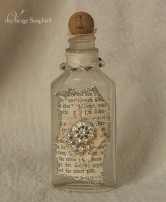 beautiful altered bottle by TheVintageSongbird on Etsy, $14.00