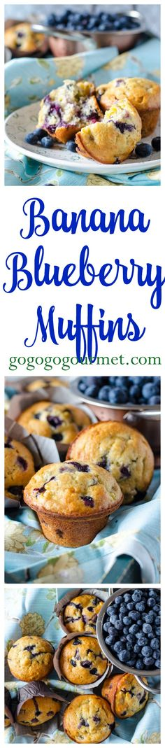 Chockfull of blueberries and packed with banana, these easy muffins are sure to be a hit with everyone! Banana Blueberry Muffins | Go Go Go Gourmet @gogogogourmet