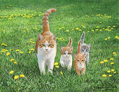 Happy Tails - Cat Painting by Persis Clayton Weirs