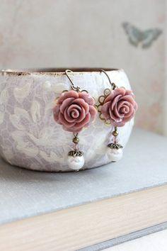 Rose Earrings Dusty Rose Pink Pearl Drop Floral Dangle Leverback Earrings Vintage Style Wedding Romantic Bridal Jewellery Bridesmaids Gift by apocketofposies