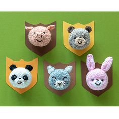 Ravelry: Animal face pins pattern by Sachiyo Ishii Knitting Stitches, Free Knitting, Animal Knitting Patterns, Knit Patterns, Knitting Storage, Knitted Animals, Knit Picks, Animal Faces, Amigurumi