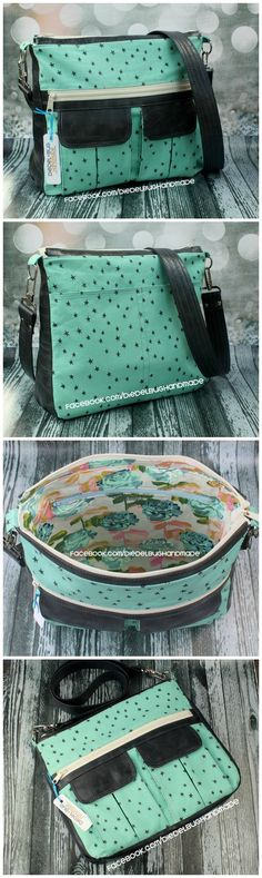 Sydney CrossBody bag sewing pattern.  The perfect balance of form and function, this large everyday crossbody bag is ideal for daily use. It features multiple storage options, including two pleated cargo pockets, a large zippered pocket, a back slip pocket and a zippered pocket inside. (Photos by Diedelbug Handmade)