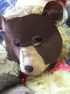Bear Mask Pattern. One Size Fits Most. FREE POSTAGE. Kids Bear Costume, Teddy Bear Costume, Book Day Costumes, Diy Costumes, Diy Party Mask, Bear Mask, Bear Party, Creative Workshop, Animal Masks