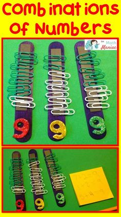 A fun and colorful way to work on combinations of numbers.  Makes an excellent activity for math centers or independent work time.  Also very useful as a busy bag for young children during quiet time.