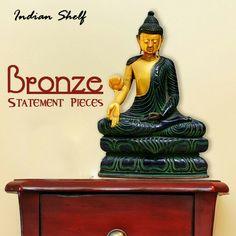 Bronze statement pieces #bronze #buddha #statue at https://www.indianshelf.com