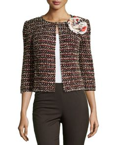 Floral-Appliqué+3/4-Sleeve+Jacket,+Black/Red+by+St.+John+at+Neiman+Marcus+Last+Call.