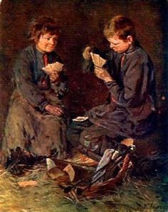 Young Gamblers - Kirill Lemokh (1841 – 1910, Russian)