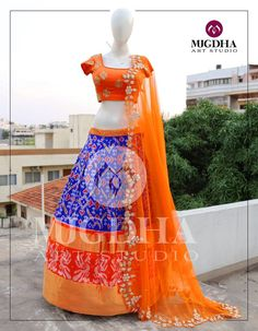 Beautifully designed ikkat pattu lehenga with Gorgeous Raw silk blouse in hand made design .Product code : LHG Order :whatsapp 9010906544 For Call: 8899840840 (IVR) 03 May 2017 Half Saree Designs, Lehenga Designs, Saree Blouse Designs, Half Saree Lehenga, Anarkali, Brocade Lehenga, Kids Lehenga, Lehnga Dress, Lehenga Blouse
