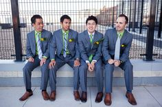 How Grooms Stand Out Among Their Groomsmen  Except green and grey they'd be navy and dark grey and light greys.  LOVE THIS!  Makes both the groom and groomsmen stand out