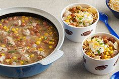 Pinto beans, green salsa and bite-size pieces of pork tenderloin are at the heart of this recipe for easy-to-make, family-pleasing enchilada chili.