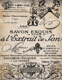 Antique French Labels Handwriting Fleur de Lis Digital Download for Tea Towels, Papercrafts, Transfer, Pillows, etc Burlap No. 2799 via Etsy