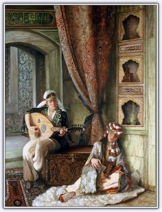 by Turkish artist Kamil Aslanger. Relaxing with the sound of music. No ear-splitting speakers, no DVDs, just soft live music. That's how uncomplicated life was in the yester years. Jean Leon, Middle Eastern Art, Arabian Art, Islamic Paintings, Turkish Art, Classic Paintings, Historical Art, Foto Art, Classical Art