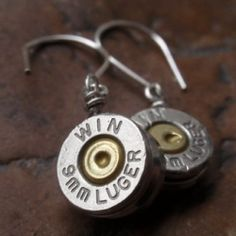 Awesome New Earrings I hand crafted out of genuine brass bullet casings. Crafted w love, I Up cycled them into something useful & beautiful Ammo Jewelry, Silverware Jewelry, Metal Jewelry, Jewelry Crafts, Jewelry Art, Handmade Jewelry, Jewelry Design, Bullet Shell Jewelry, Bullet Casing Jewelry
