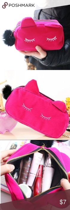 Kitty Cosmetic Bag Adorable Kitty Cosmetic Bag! Use for Cosmetics, glasses, etc.. Zip top with Pom zipper pull! Fill with travel bottles or nail essentials for a great gift! Bags Cosmetic Bags & Cases