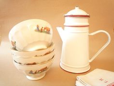Set of 4 French vintage cafe au lait bowl with by FrenchCampagne
