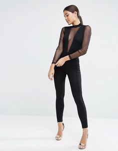 ASOS | ASOS Jersey Jumpsuit with Plunge Neck & Dobby Mesh