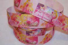 "GROSGRAIN Princess Aurora Sleepy Beauty 3/"" INCH PRINTED GROSGRAIN RIBBON 3 Yards"