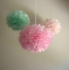 7 Pom Poms - Pure & Sweet Tissue Paper Pom-Poms  - Pink, Blush, Cool Mint, Green. $25.50, via Etsy.