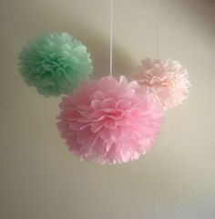 7 Pom Poms - Pure & Sweet Tissue Paper Pom-Poms  - Pink, Blush, Cool Mint, Green. $25.50, via Etsy.