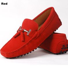 Mens Red Moccasins Shoes - It's extremely wondrous to see a girl can be given an instantaneous lift in her assurance by sh Red Loafers Mens, Mens Tassel Loafers, Ankle Sneakers, Leather Sneakers, Only Shoes, Men's Shoes, Driving Shoes Men, Car Shoe, Driving Moccasins