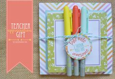 teacher appreciation gift - office supplies with this free printable gift tag from theteachermama.com
