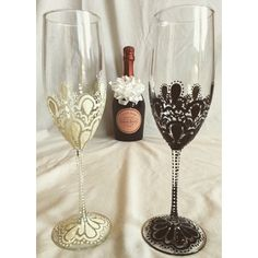 Hand painted Bride and Groom champagne flutes