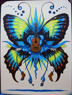music art butterfly guitar poster design lock and key « « Mayhem & Muse