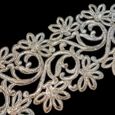 Broad gold metallic thread with outline cutwork by ColourCocoon Bridal Fabric, Cutwork, Metallic Thread, Crafts To Make, Outline, Applique, Fabrics, Delicate, Bronze