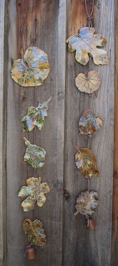 Clay Leaves Wall Hanging 5 Made with Real Leaves by SallysClay