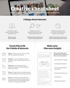 This handy reference sheet includes tips for deciding what content your business should Pin and how to make your Pins as helpful as possible to Pinners - which will help drive more repins and clicks for your business.
