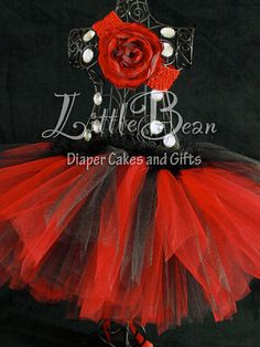 Red and Black Tutu with Feather Waist by LittleBeanDiaperCake, $29.00