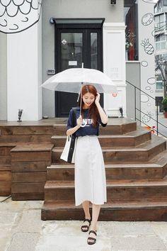 Long Button Skirt   Korean Fashion