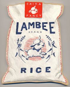 Vintage Graphic Design Lambee Rice by Sandra Eterovic PD - Rice Packaging, Cool Packaging, Vintage Packaging, Brand Packaging, Beverage Packaging, Typography Design, Lettering, Branding Design, Logo Design