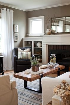Ideas for family room - curtains...chair placement..paint inside of bookcase.
