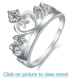 White Gold Plated Rings Wedding Band Finger Bride Queen Crown Crystal Love 914