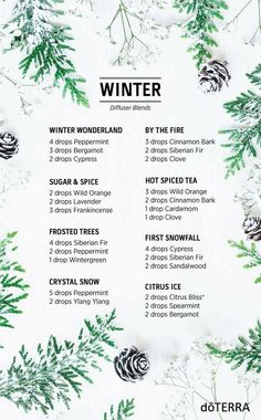 Today is the first day of winter for the Northern Hemisphere! Become enchanted with these whimsical winter blends. Create an indoor winter wonderland, cozy up by the fire, and enjoy the pleasant aromas of doTERRA essential oils.