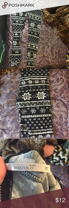 Bozzolo Plus Black and white Christmas leggings Bozzolo Plus black and white Christmas print leggings. Size but fit like a Only ever tried on, never worn. Purchased from Deb. Christmas Leggings, Christmas Outfits, Christmas Print, White Christmas, Print Leggings, Leggings Are Not Pants, Single Piece, Wonderful Time, Dog Tag Necklace