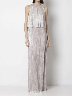 Intropia Fluted pleat metallic maxi dress