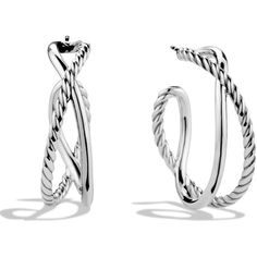 David Yurman Crossover Hoop Earrings ($375) ❤ liked on Polyvore featuring jewelry, earrings, silver, david yurman jewelry, silver earrings, silver hoop earrings, david yurman earrings and silver jewelry