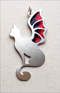 Scarlet and Black Dragon Wing Cat Pendant