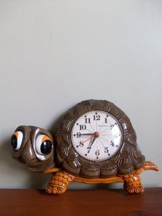 Vintage 1970s New Haven Plastic Turtle Wall Clock we had this in our kitchen. My mom bought it. He's cool.