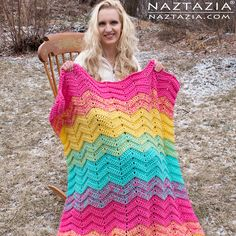 Free Pattern - How to Crochet Double Sweet Ripple Blanket - Chevron Zig Zag Afghan Throw - DIY Tutorial & YouTube Video by Donna Wolfe from Naztazia