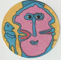 Eine seiner spannenden kleinen Zeichnungen: er schafft es, ein Gesicht gleichzeitig frontal als auch doppelt im Profil zu zeigen und gleichzeitig durch eine kleine ganze Figur erst noch ein Raumgefühl hinzuzufügen, das Ganze in einer Kreisfläche, was an sich schon eine Herausforderung bedeutet... Kids Rugs, Decor, Art, Profile, Stone, Small Drawings, Random Stuff, Face, Figurine