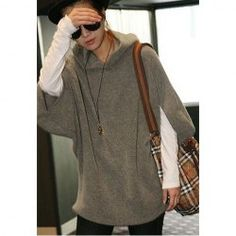 $7.78 Casual Style Solid Color Batwing Sleeves Cotton Blend Fleeces Plus Size Hoodie For Women